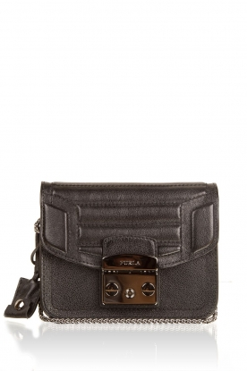 Leather shoulder bag Metropolis Mini | black