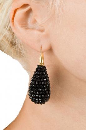 Miccy's | Oorbellen Crystal Drops XL | zwart