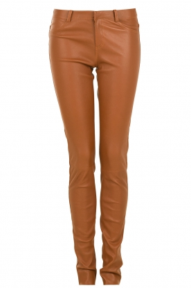 Leather 5-pocket  pants Cory | brown