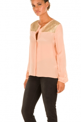 Zijden blouse Carmen | zalmroze
