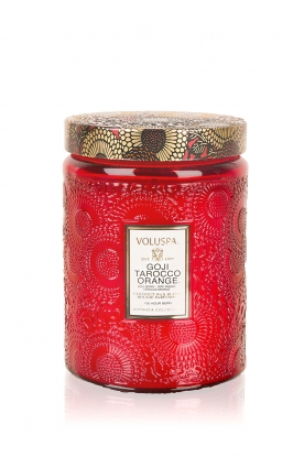Voluspa | Geurkaars Large Embossed Goji tarocco orange | rood
