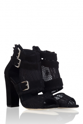 Morobé | Suède sandalen Laredo | zwart