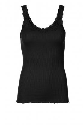 Zijden top Babette | zwart