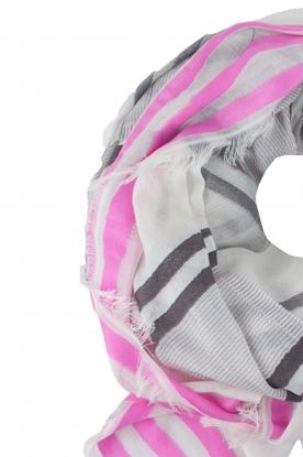 BVL | Sjaal Stripe | grijs en roze