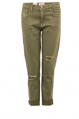Current/Elliott |  Skinny ripped jeans The Fling cropped | army green