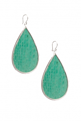 Close to Zen |  Silver with leather earrings Tears of Joy | mint green