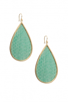 Close to Zen |  22k gold plated earrings Tears Snake big | green