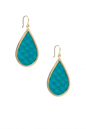 Close to Zen |  22ct gold plated earrings Tears Snake medium | turquoise