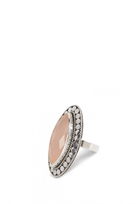 Close to Zen |  Silver ring with gemstone Gypsy blessing | soft pink