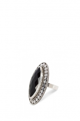 Silver ring with gemstone Gypsy blessing | black