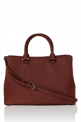 MICHAEL Michael Kors | Leren schoudertas Satchel Savannah | brick red