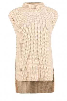 Set | Mouwloze gebreide trui Nora | zand