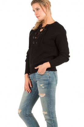 Knitted lace-up sweater Liz | black