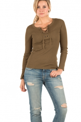 Lace-up sweater Gail | green