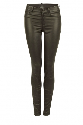 Stretch leather 5-pockets pants Lola | dark green