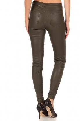 Set | Strechleren 5-pockets broek Lola | donkergroen
