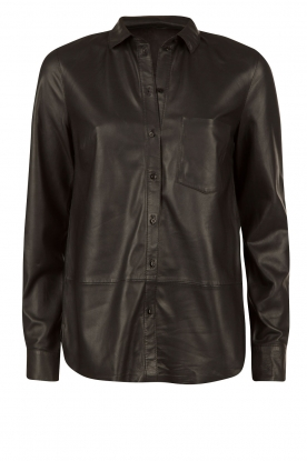 Leather blouse Kate | black
