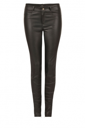 Leather 5-pockets pants Lola | black