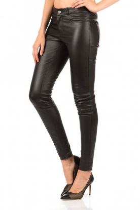 Set | Stretchleren 5-pocket broek Lola | zwart