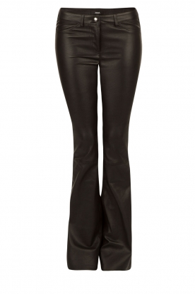 Flared Lamb leather stretch pants Millau | black