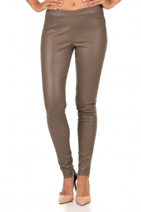 Lamb leather stretch leggings Roche | taupe