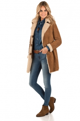 Suede lammy coat Manja | brown