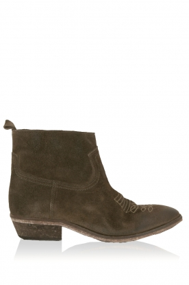 Catarina Martins |  Suede ankle boots Olsen Vesuvio | moss-green