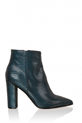 Noe |  Leather ankle boots Norva | blue with print
