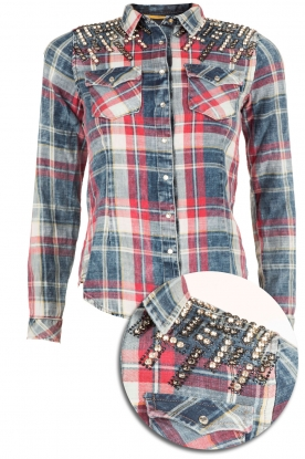 Geruite studded blouse Dyna | blauw en rood