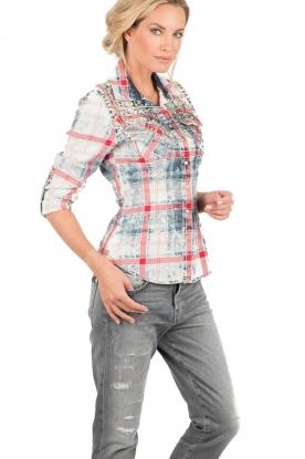 Dishe Jeans | Geruite studded blouse Rhiana | rood en blauw