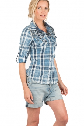 Checkereed studded blouse Bentley | blue