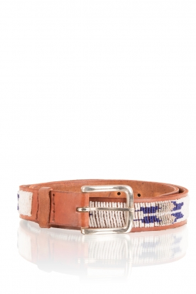 Aspiga | Leren riem Fether | zilver en blauw | leather belt Feather | zil