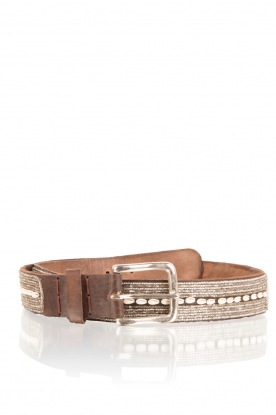 Aspiga |  Leather belt Shell | brown