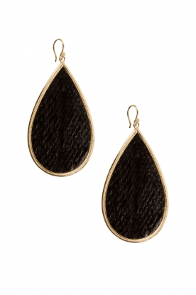22k gold plated earrings Tears of Joy | black