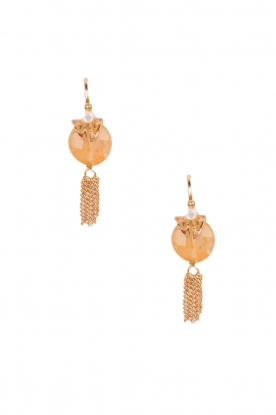 Satellite Paris |  14k gilded gold earrings Leia | light orange