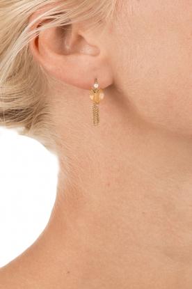 Satellite Paris | 14k verguld gouden oorbellen Leia | licht oranje