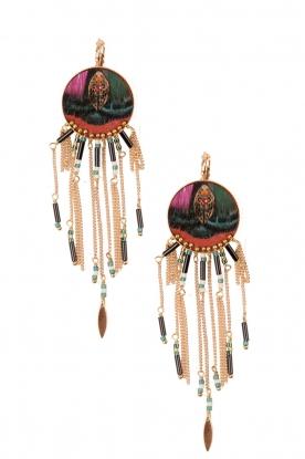 14k gilded gold earrings Lorain | Orange