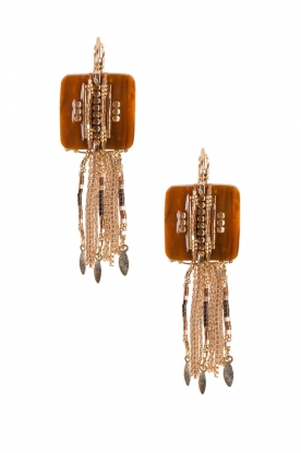 Satellite Paris |  14k gilded gold earrings Nicole | brown