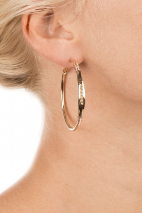 Satellite Paris | 14k verguld gouden oorbellen Naima | Bruin