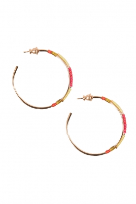 Satellite Paris |  14k gilded gold earrings Gloria | Pink