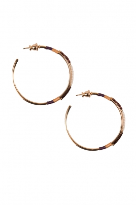 14 gilded gold earrings Gloria | Brown