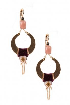 Satellite Paris |  14k gilded gold earrings Cecille | purple