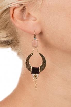 Satellite Paris | 14k verguld gouden oorbellen Cecille | paars