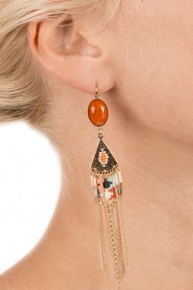 Satellite Paris | 14k verguld gouden oorbellen Fay | oranje
