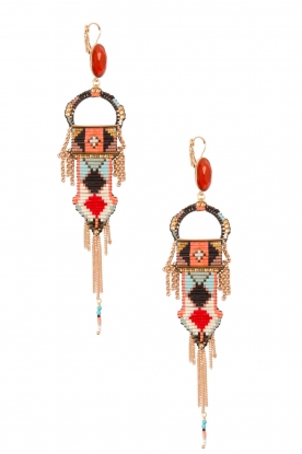 Satellite Paris |  14k gilded gold earrings Zoe | orange