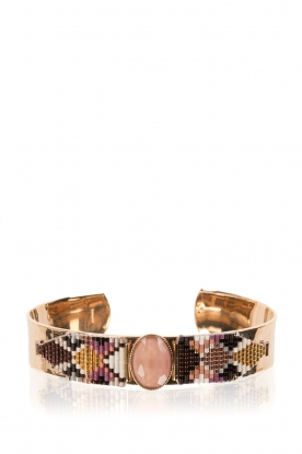 Satellite Paris | 14k verguld gouden armband Nancy | Paars