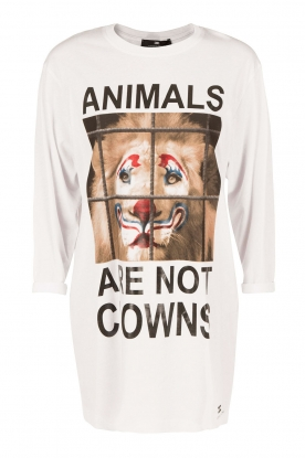 ELISABETTA FRANCHI | Lang T-shirt Animal | wit