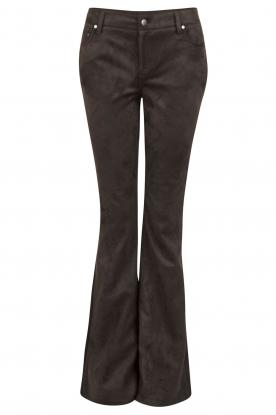 NIKKIE | Suéde look flare broek Leyla | zwart