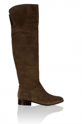 Suede over-the-knee boots Isa | green
