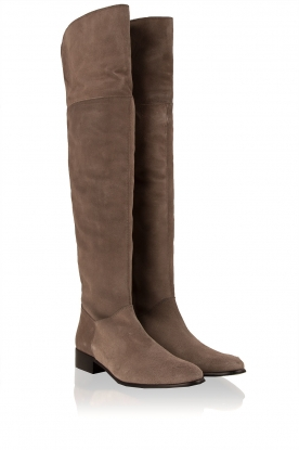 Maluo | Suede over-the-knee laarzen Isa | grijs